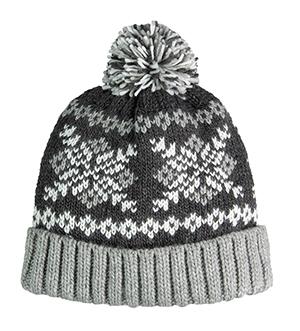 eac62ae04b2a0a Heavy gauge snowflake jacquard knit cuff cap in super soft Icelandic  acrylic yarns. Rib knit cuff and plush pom top.