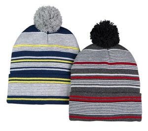 4b656abf6da Double layer fine gauge jersey knit cuff cap with pom. Assorted engineer  stripe patterns.