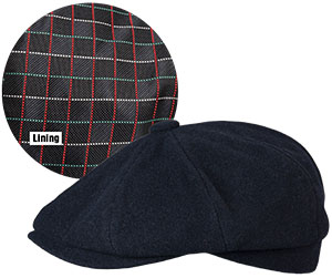 7a4598b1c65 Handsome wool blend solid color 8 quarter ivy caps with self fabric peak  and button top. Attractive updated satin tie linings may vary.