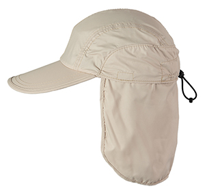 Askin ripstop baseball cap with neck flap to provide extra sun protection.  Neck flap easily rolls up and tucks away into a hidden pocket. Extra long  4